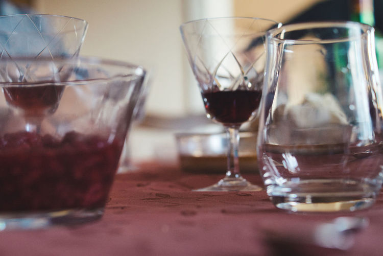 Close-up of wine in glass on table