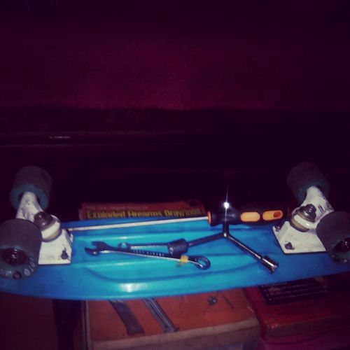set up the skate? done :) ready to skate na ulit :) thank you papa p for helping me repacking the bearings Pennyboard Sanaskateboardnasusunod Kahitlongboard wazuuup