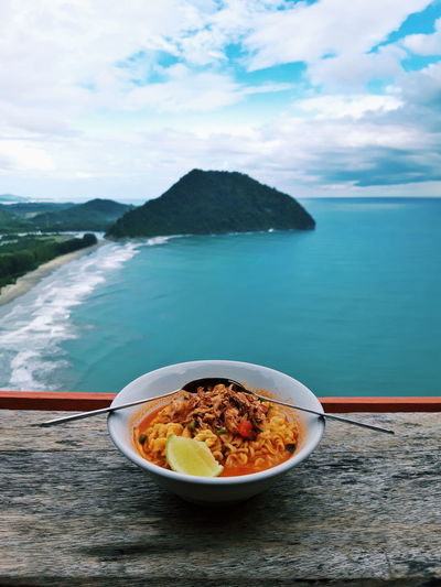 Water Sea Beach Mountain Sand High Angle View Sky Food And Drink