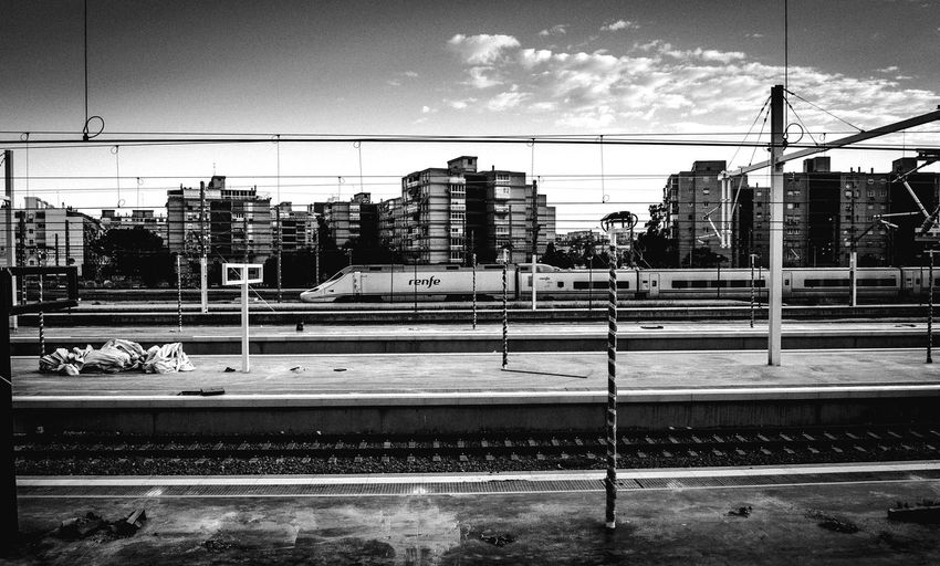 Transportation Built Structure Cable City Alicante City Renfe RenfeAve Electricity  Connection Business Finance And Industry Train Station City Life Public Transportation Metal Industry Technology Alicante Outdoors Train Transportation Rail Transportation Railroad Track Monochrome Railwaystation Railroad Station Black & White