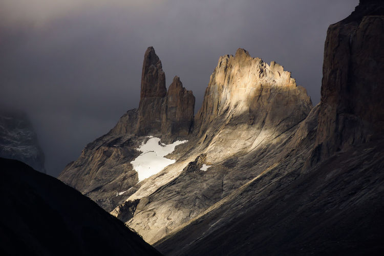 cuerno`s and torres del Paine at sunset Beauty In Nature Environment Eroded Formation Geology Idyllic Mountain Mountain Peak Mountain Range Nature No People Non-urban Scene Physical Geography Rock Rock - Object Rock Formation Scenics - Nature Sky Solid Tranquil Scene Tranquility
