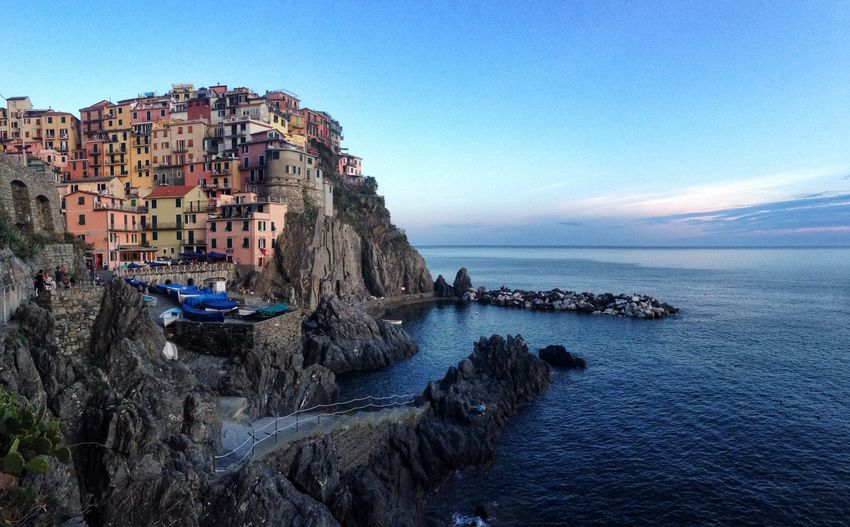 Manarola , Cinque Terre, Italy Sea Architecture Water Building Exterior Built Structure Rock - Object No People Nature Outdoors Tranquility Blue Sky Day Nautical Vessel Scenics Clear Sky Beauty In Nature Cinque Terre Italy Manarola