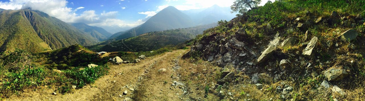 Green Color Panoramic Panoramic Photography Peru Road Mountain Tranquility Mountain Range Dirt Road Non-urban Scene Nature Valley Beauty In Nature Sky Mountain Road Rocky Mountains