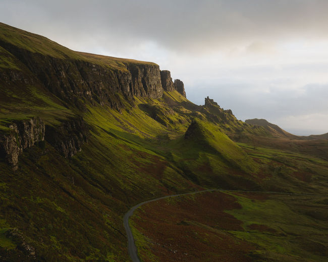 Quiraing, Isle of Skye Nature Sky Landscape Day Road Outdoors Rock Tranquility Mountain Land Environment Beauty In Nature No People Formation Green Color Idyllic Tranquil Scene Mountain Range Non-urban Scene Cloud - Sky Scenics - Nature