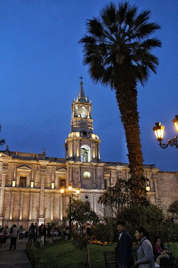 Cathedral of Arequipa Cathedral Catholicism Tree City Illuminated Clock Clock Tower Blue Christmas Sky Architecture Building Exterior