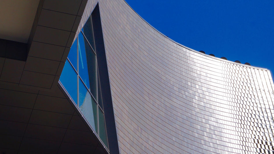 Architecture Detail, Studio Bell-National Music Centre Façade Reflection Architecture Blue Building Exterior Built Structure City Clear Sky Day Facade Detail Low Angle View Modern No People Triangle Shape Window