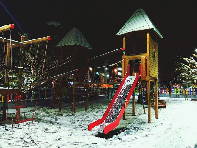 Playground Playground Equipment Playground Structure Playground At Night Snow ❄ Snowing Snow Trees Cold Temperature Playground For Kids Simplicity Snow Covered Outdoor Photography Covered In Snow Illuminated City City Lifestyle PiraeusbyNight Piraeus Street Lights & Snow Urban Outdoors Photography
