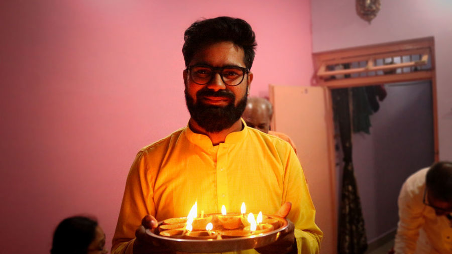 diwali Eyeglasses  Domestic Life Flame Beard Burning Home Interior Men Candle Flower Portrait Diya - Oil Lamp Fire - Natural Phenomenon Fire Pit Darkroom Firewood Candlelight Diwali Oil Lamp Powder Paint
