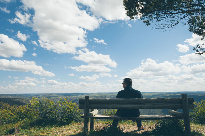 Rear View Of Man Sitting On Park Bench By Tree Against Cloudy Sky During Sunny Day