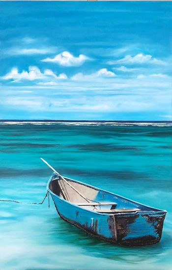 oil painting on canvas Old Fishing Boat Oil Painting Blue Painting Nautical Vessel Water Sea Beach Blue Horizon Over Water Cloud - Sky Fishing Boat Wave Seascape