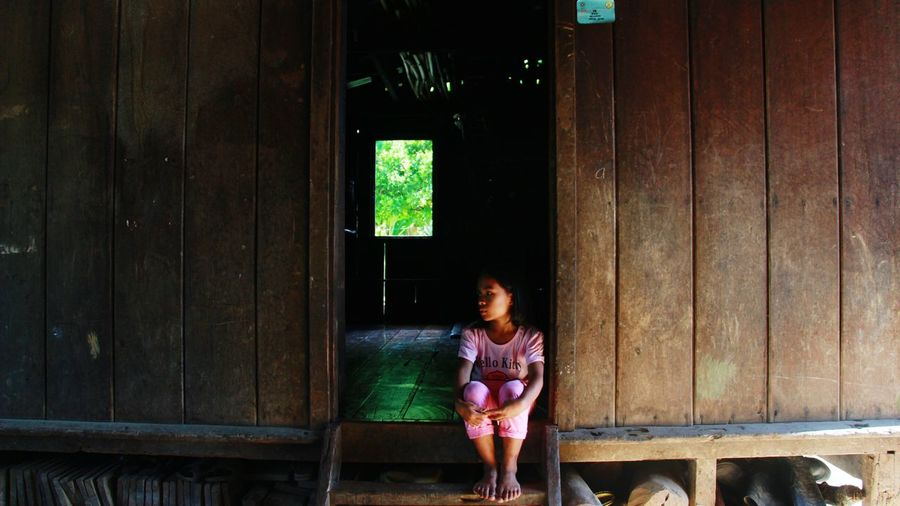 Girl Hanging Out Nativebeauty  Wooden House Hello World Relaxing Enjoying Life Moments Onlyinthephilippines