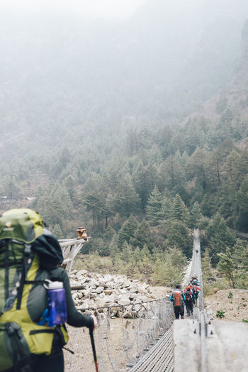 EBC Trek 2018 Rope Bridge The Week on EyeEm Activity Adventure Backpack Day Fog Forest Group Of People High Angle View Land Leisure Activity Lifestyles Men Mode Of Transportation Mountain Nature Outdoors People Plant Real People Scenics - Nature Transportation Travel Tree