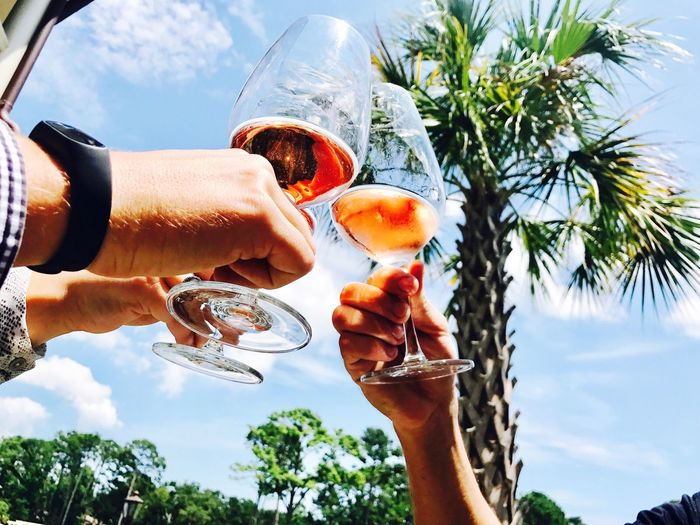 Low angle view of cropped hands toasting drinks against trees