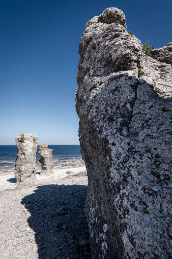 Nordic Light Beach Beauty In Nature Blue Clear Sky Day Gotland Horizon Over Water Land Landscape Langhammars Nature No People Outdoors Rock Rock - Object Rock Formation Scenics - Nature Sea Sky Solid Stack Rock Tranquil Scene Tranquility Water