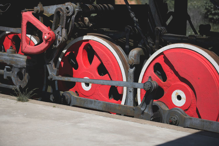 Antique Backgrounds Circle Circles Close-up Day Design Locomotive Mode Of Transport No People Old Locomotive Outdoors Platform Red Red Wheels Reto Stationary Steam Train Transportation Weapon Wheel Wheels