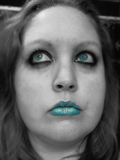 Make Up ART Black & White Blue Eyes Blue Lips Versions Of Me