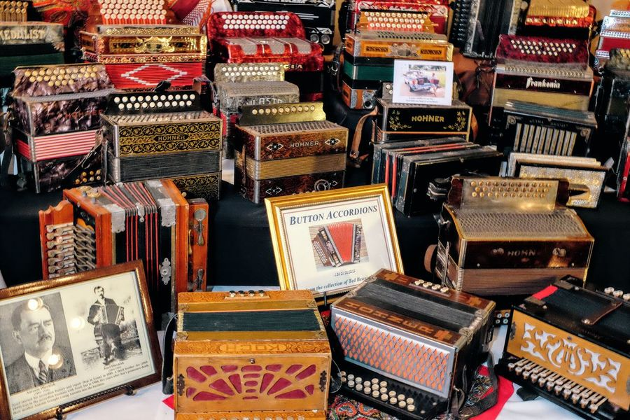 55th Annual National Czech Festival August 6, 2016 Wilber, Nebraska Abundance Accordion Arrangement Button Accordian Camera Work Collection Community Czech Days Czech Festival Display Documentary Photography History Through The Lens  Large Group Of Objects Museum Musical Instruments Polka Music Small Town Stories Traditional Culture Traditions Wilber, Nebraska