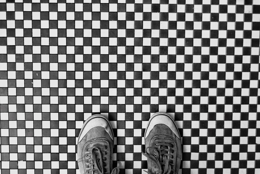 Looking down from above onto a pair of shoes standing on a black and white, chequered floor. Shoes Shoes ♥ Shoeselfie Shoes Of The Day Chequered Cheques Floor Flooring Looking Down Lookingdown Lookingdownproject Looking Down! Looking Down From Above Blackandwhite Black And White Black & White Blackandwhite Photography Black And White Photography Black&white Blackandwhitephotography Black And White Collection  Check This Out! Check This Out