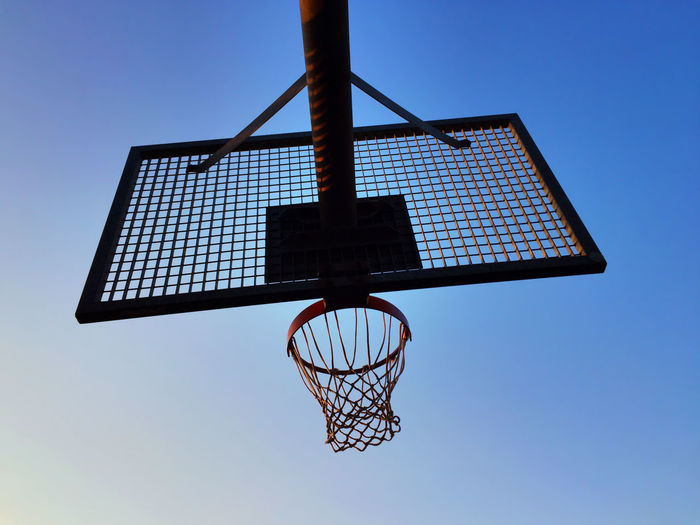 shooting some hoops Bottom-up Basket Basketball Basketball Basket Basketball Game Game Grid Sky Sport