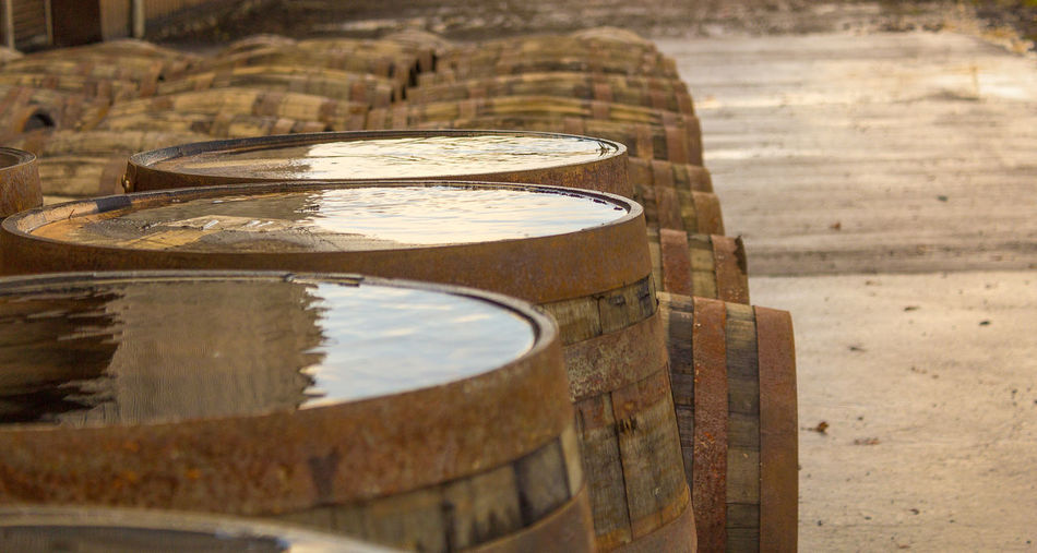 Water On Wooden Barrels