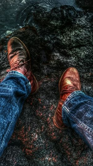 Me And My Boots Relaxing Watching The Sunset Sunset Reflection Lava Rocks :)