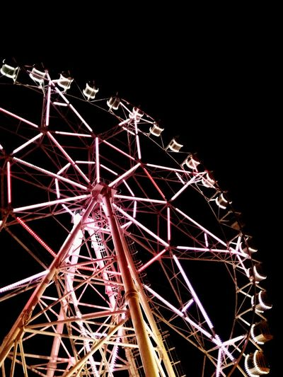 Heights and Lights Ferris Wheel Amusement Park Night Low Angle View Outdoors Night Life Lights Worms Eye View Night Sky EyeEmNewHere