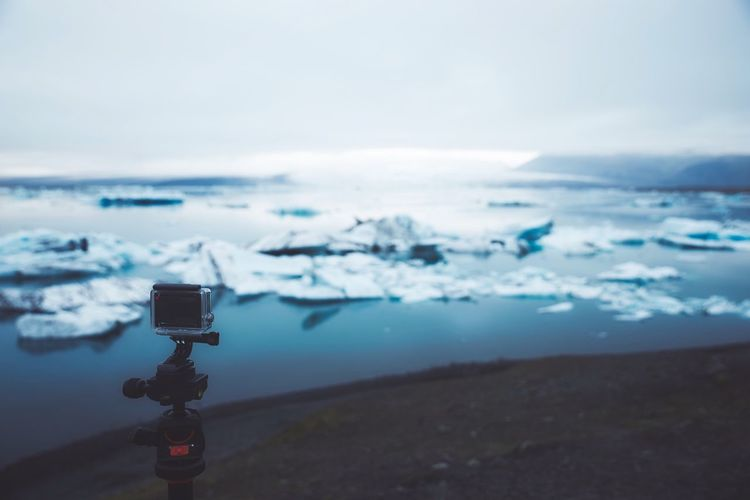 Jökulsárlón Glacier Iceberg Gopro EyeEm Best Shots Water Sky Nature Day Sea Scenics - Nature No People Winter Focus On Foreground Outdoors Technology Beauty In Nature Digital Camera Photography Themes Cold Temperature Tranquil Scene Tranquility