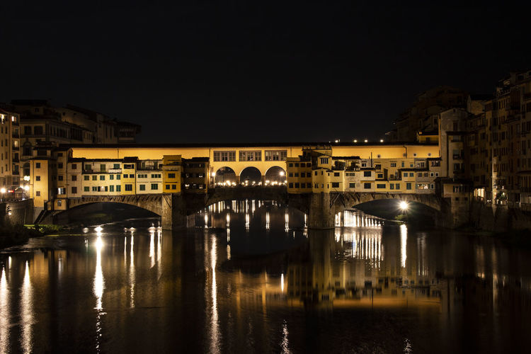 Reflection Water Night Bridge River Arch Outdoors Ponte Vecchio - Firenze Nightlife Architecture City