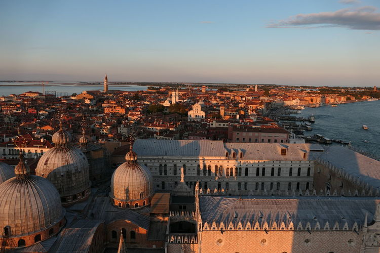 View from campanile on palazzo ducale and city and san marco