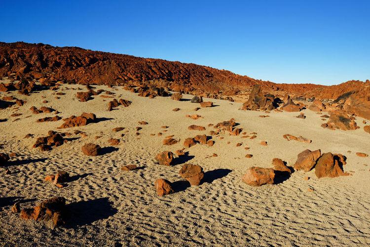Rocks At El Teide National Park Against Clear Blue Sky