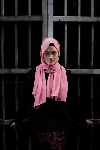 Let me free once One Person Front View Prison People One Woman Only Young Adult Looking At Camera Adult Disguise Portrait Asian Girl Asia People Hijabgirl Hijabstyle  Tudung Fashion Street Portrait Street Fashion