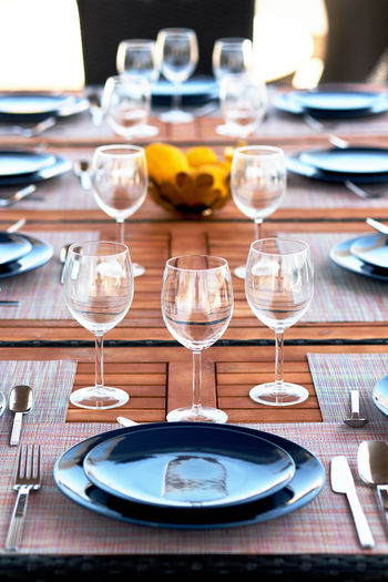 High Angle View Of Arranged Dining Table At Home