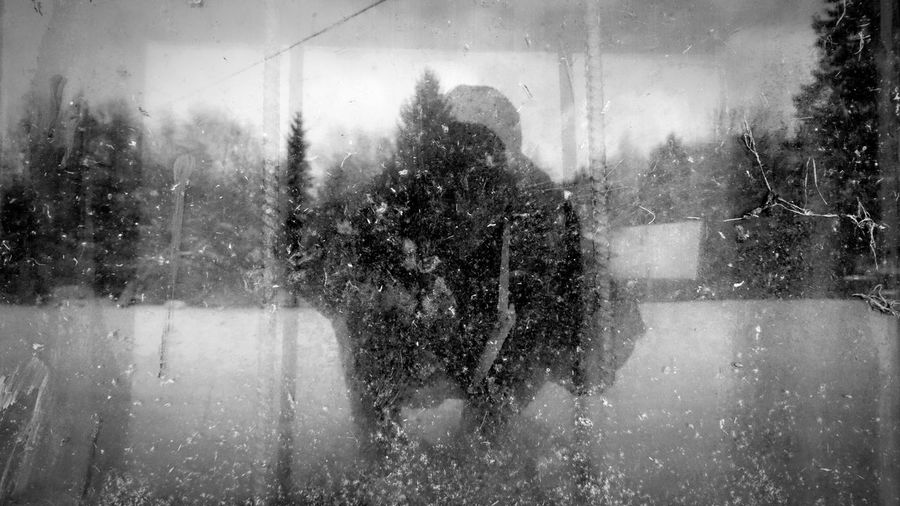 Trapped in reality. Light And Reflection Window Reflections Black & White Ghost Cold Old Winter Cage Wintertime
