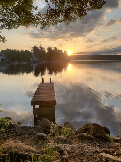 Sunrise View by the Wooden Dock Water Sky Sunset Tree Plant Architecture Tranquility Cloud - Sky Beauty In Nature Nature Lake Scenics - Nature Reflection No People Tranquil Scene Sun