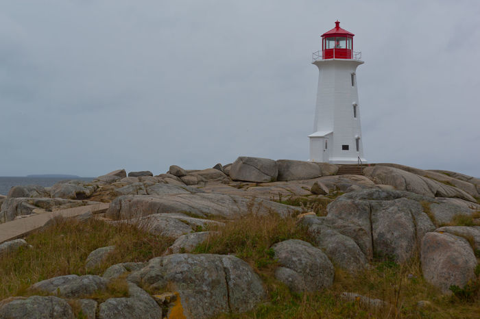 Lighthouse Landscape Landscape_Collection Landscapes With WhiteWall Lighthouse Nova Scotia Overcast Rocks White & Red White Lighthouse