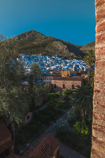 the blue town Architecture Blue Building Exterior Built Structure Chefchaouen City Cityscape Morocco Mountain Nature Night No People Outdoors Roof Sky Travel Destinations Tree Vacations