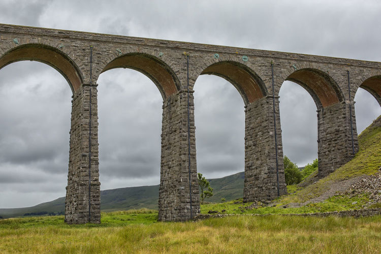 Low Angle View Of Ribblehead Viaduct Against Cloudy Sky