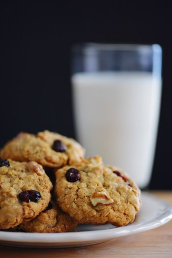 Walnuts Milk Cranberries Cookies Oatmeal Cookies EyeEm Selects Food And Drink Food Sweet Food Baked Freshness Cookie Still Life Indulgence Indoors  Dessert Ready-to-eat