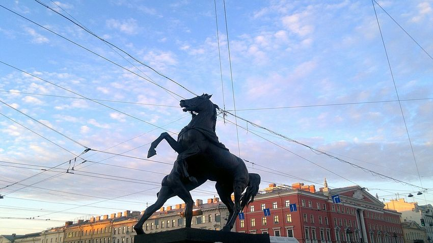 Sky Silhouette Cloud - Sky Statue Sculpture Animal Themes Day City Outdoors No People Stpetersburg Russia History