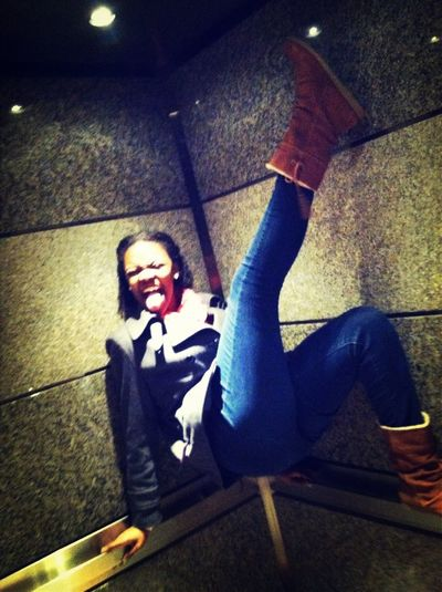 I was acting silly on the elevators yesterday.