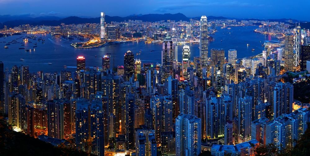 High angle view of hong kong at night