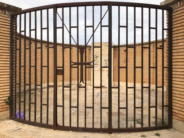 Belchite Architecture Built Structure Security Fence Safety Building Exterior Metal Protection Day Boundary No People Building Barrier Nature Gate Sunlight Sky Outdoors Closed Pattern