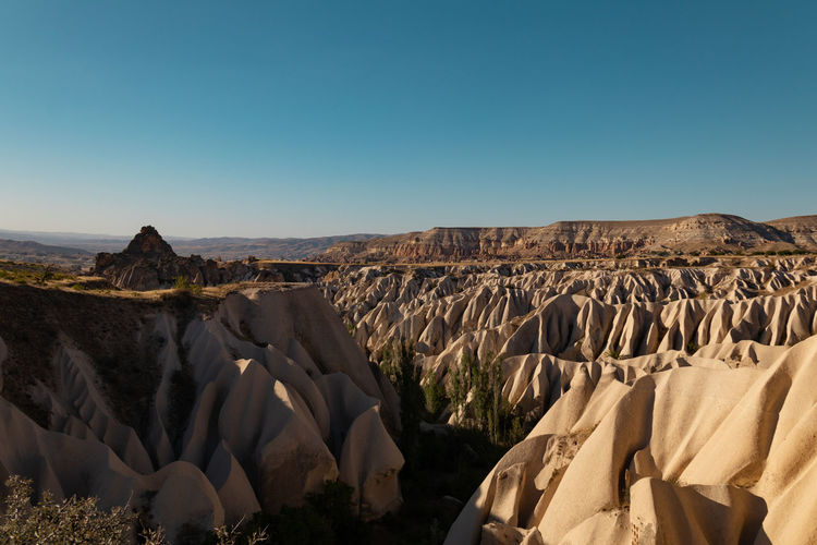World best hot air balloon destination. Goreme, Turkey. Turkey Göreme Cappadocia Sky Scenics - Nature Copy Space Rock Landscape Mountain Nature Sunlight Rock Formation Non-urban Scene No People Beauty In Nature Tranquil Scene Rock - Object Day Blue Tranquility Mountain Range Arid Climate Outdoors Climate Formation