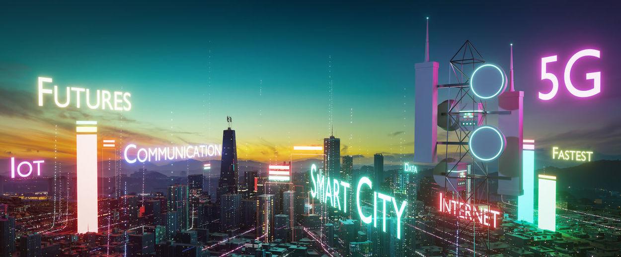 Digital composite image of illuminated city at night