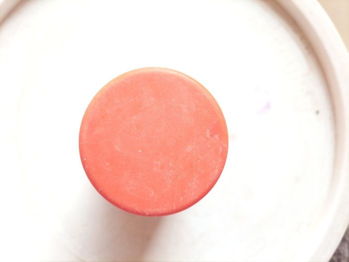 High angle view of red apple on table