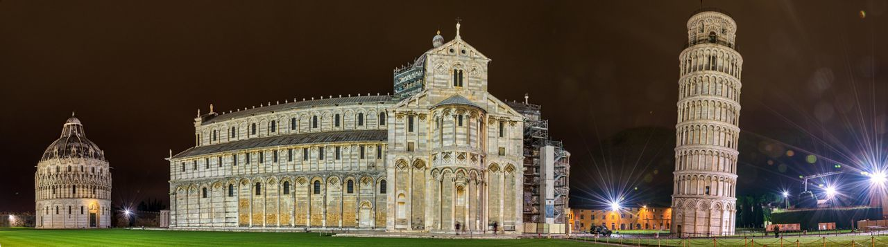 Cathedral and leaning tower of pisa at night