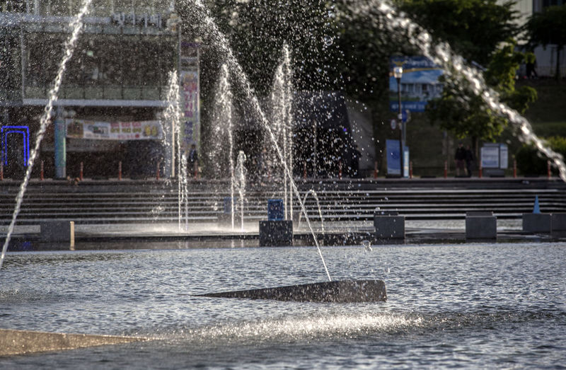 Architecture Building Built Structure City City Life Day Flowing Water Fountain Hangang Park Motion Nature No People Outdoors Park Splashing Spraying Tree Water Water Droplets