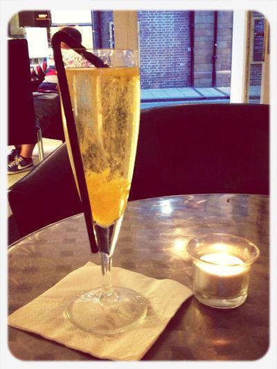 peach and gin bellini @kafeneionyork