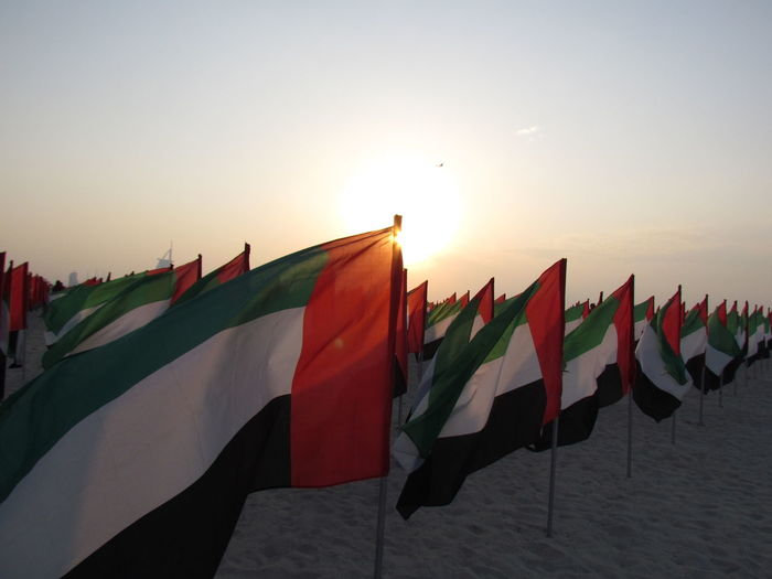 Dubai Flag Identity Jumeirah My Dubai National Day National Flag Outdoors Red Sunset UAE UAE NATIONAL DAY Wind