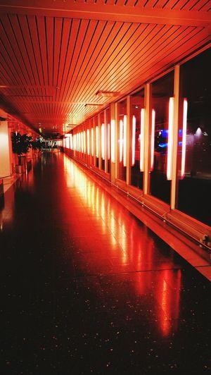 Illuminated Red Architecture Neon Arlanda Airport Sweden Stockholm